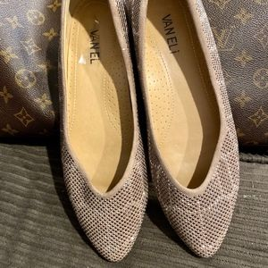 Vaneli Studded Champagne Pointed Toe Ballet Flats